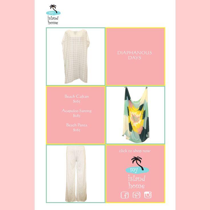 👙 Diaphanous Days 👙 #beach #coverup #sheer #kaftan #sarong #palazzo #pants #summeredition #beachstyle #shoponline #myislandhome