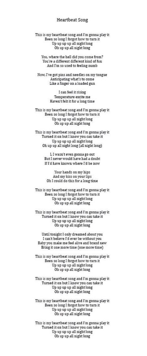 Heartbeat song lyrics