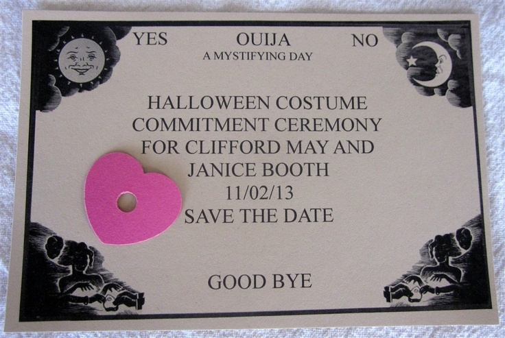 Ouija Board Save the Date Card by Janice Booth http://art-of-crafts.net