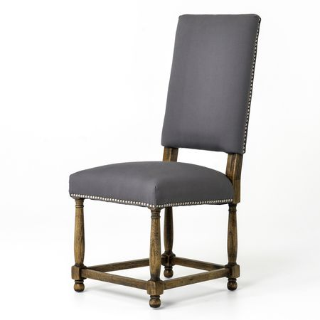 Spanish Grey Cotton Upholstered High Back Dining Chair