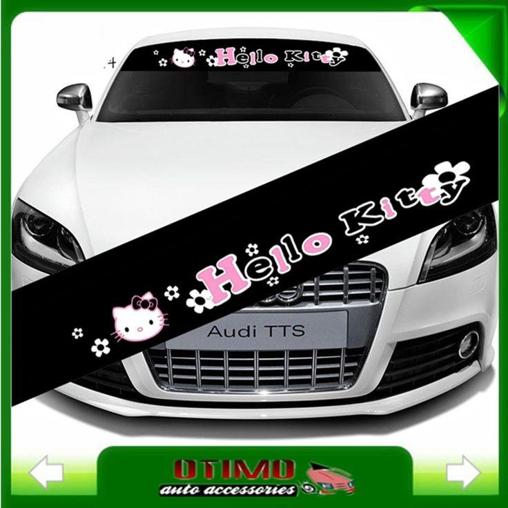 Coche que labra reflectantes de dibujos animados Hello Kitty Sticker parabrisas delantero Car Decal Stickers para decoraciones accesorios etiquetas del coche(China (Mainland))