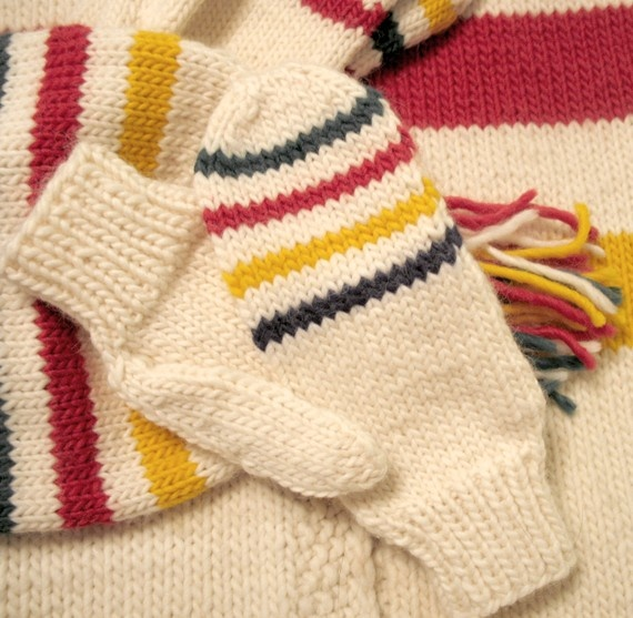 Striped mittens and hat