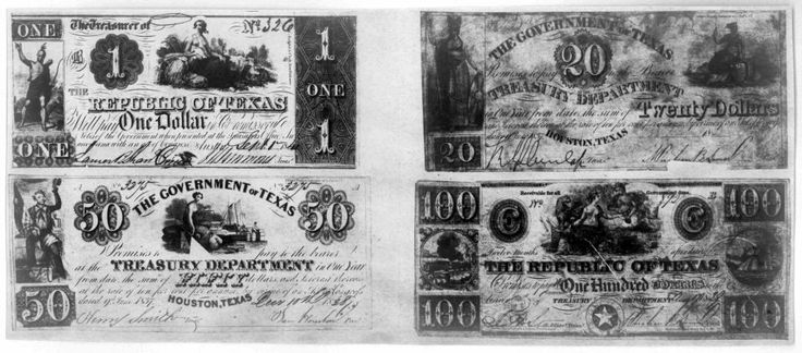 Get Paid! Texas notes: $1, $20, $50 and $100 notes from the Republic of Texas Treasury Department (1837-1841).