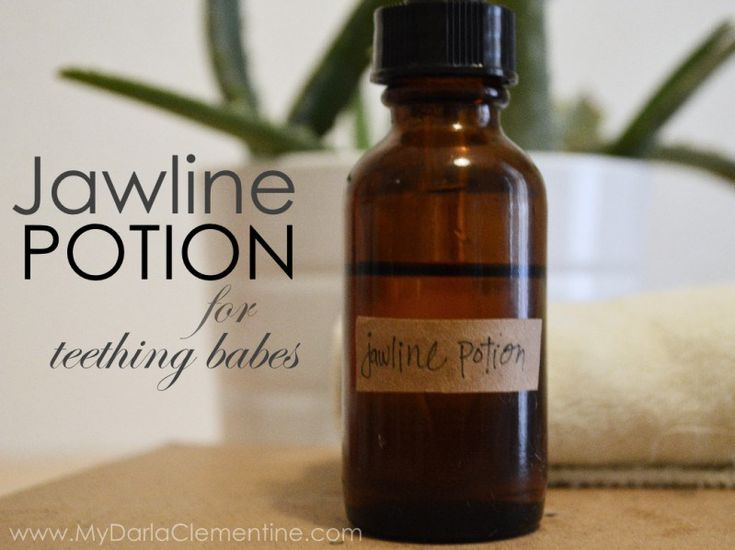 Jawline potion for teething babes. Includes diy recipe for essential oil massage blend and a recipe for chamomile teething cloths.  By My Darla Clementine