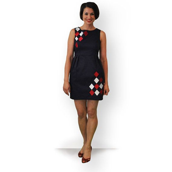 Navy cotton dress with red & white diamonds by theprofdaughter, $145.00