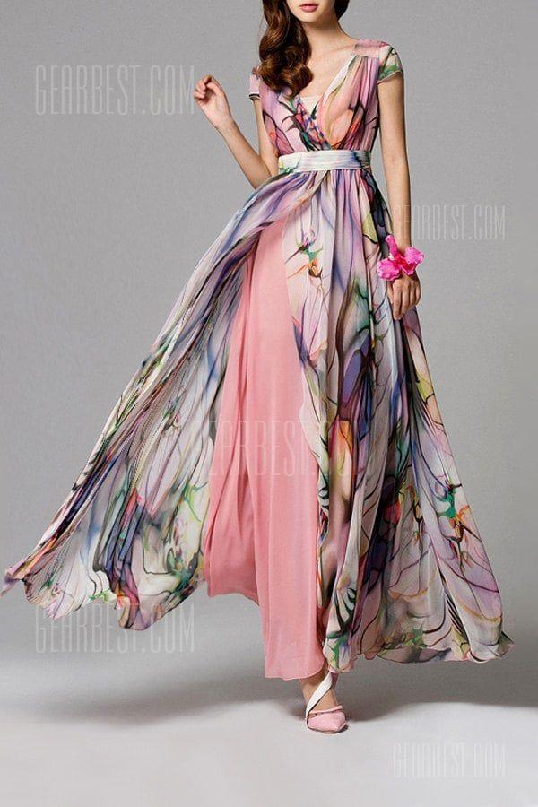 b235d14fdfc75 High Slit Floral Maxi Dress - $113.47 Free Shipping|Gearbest.com in ...
