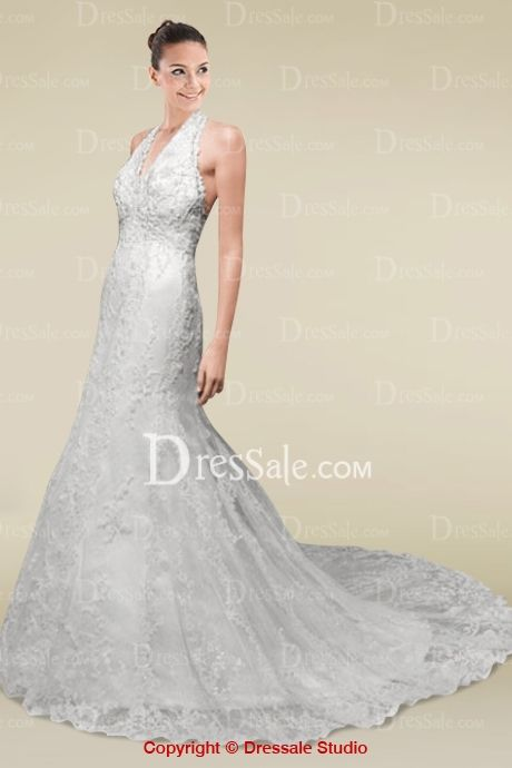 All Lace Covered Vintage Halter A-line Wedding Gown with A Translucent Chapel Train