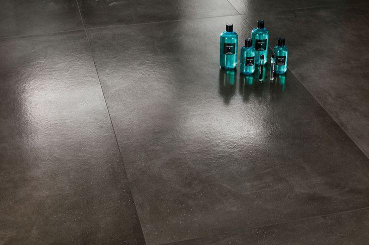 Dwell Smoke Honed floor tiles for Family Bathroom