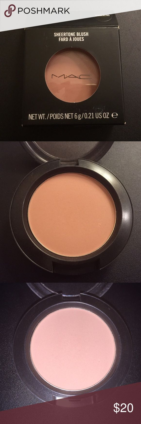 MAC Tenderling *Discontinued* Discontinued MAC sheertone blush in Tenderling. Purchased at CCO (cosmetic company outlet). Marking on bottom of box. Small knick on bottom right of blush *see photos*. Never swatched or used. Only opened for photo and inspection. Authentic MAC blush. No trades please. Firm price. Thanks for browsing! MAC Cosmetics Makeup Blush