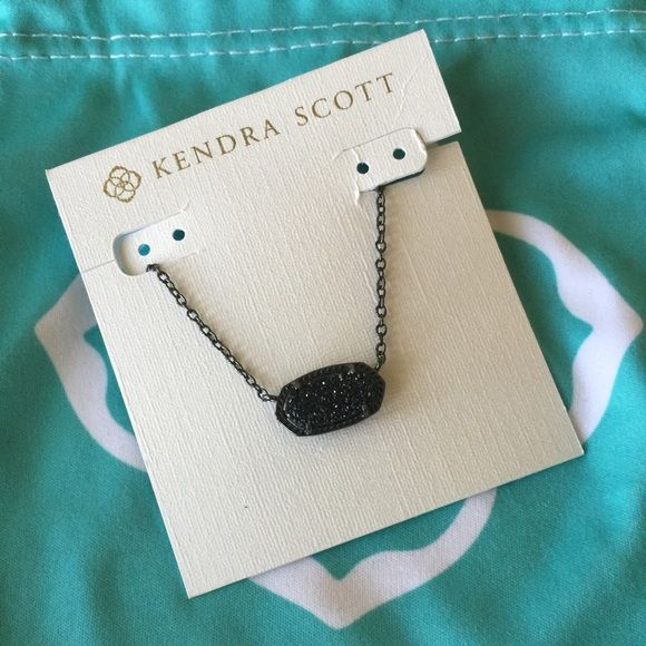 Kendra Scott black Drusy Elisa worn once Black drusy Elisa new condition Kendra Scott Jewelry Necklaces