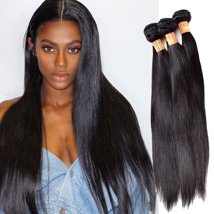 "Full Head 12""+12""+12"" 300g Real Human Hair Extension 1b# Straight Hair Weave #Unbranded"