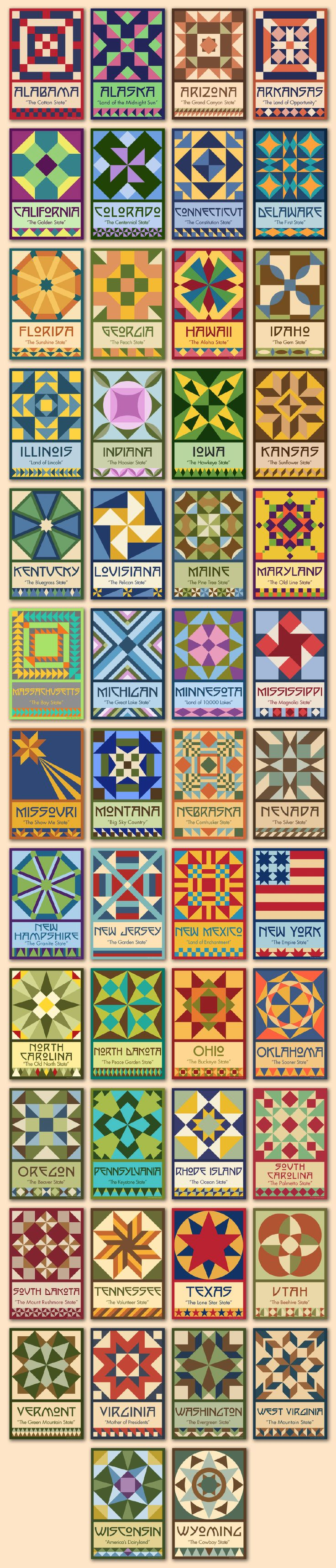 Susan Davis, owner of Olde American Antiques and American Quilt Blocks, has created a series of original quilt block designs for all 50 states. Available for purchase as a set of 50 quilt blocks at oldeamericaantiques.com.