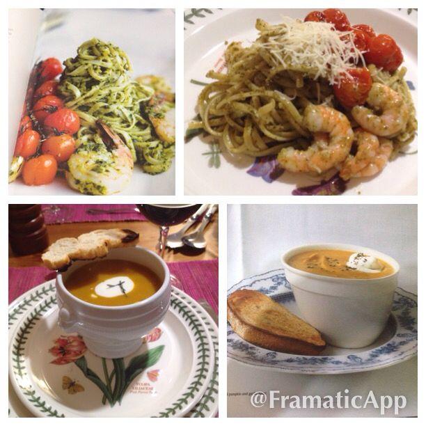 Linguini al pesto y camarones / sopa zapallo