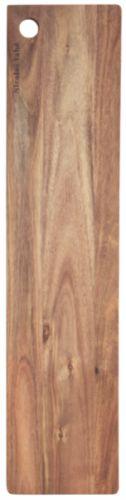 Tapasbrett av akacie træ, fargen kan variere. Tåler ikke oppvaskmaskin. Smør gjerne inn brettet edm matolje for vedlikehold.14x60 cm, h.: 1,5 cm. Fra Nicolas Vahé for House Doctor.
