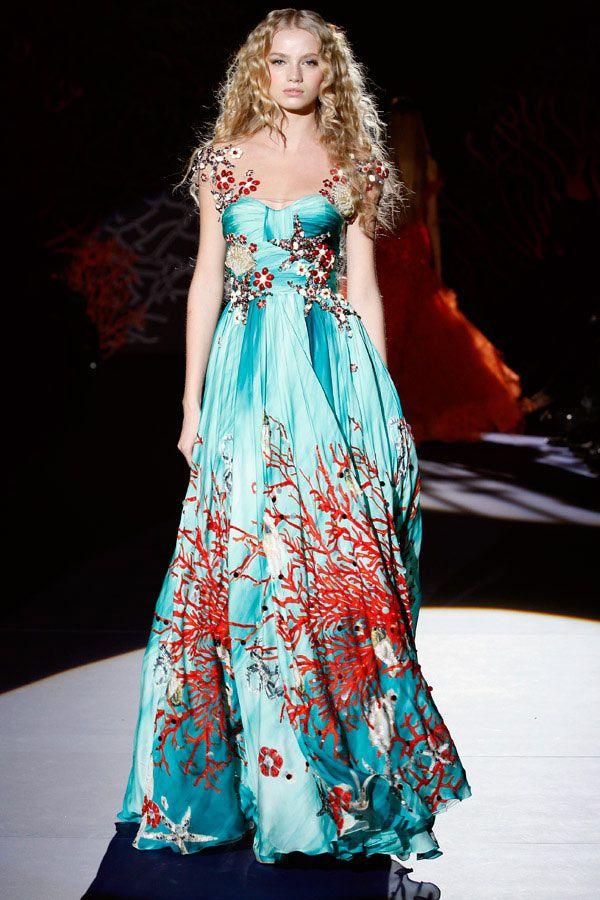 Zuhair Murad Paris Fashion Week Spring/Summer 2009 red and light blue