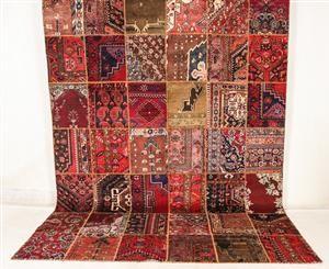 Lauritz.com - Orientaliska mattor - Handknuten persisk matta, patchwork 355x260 cm. - SE, Malmö, Baltzarsgatan