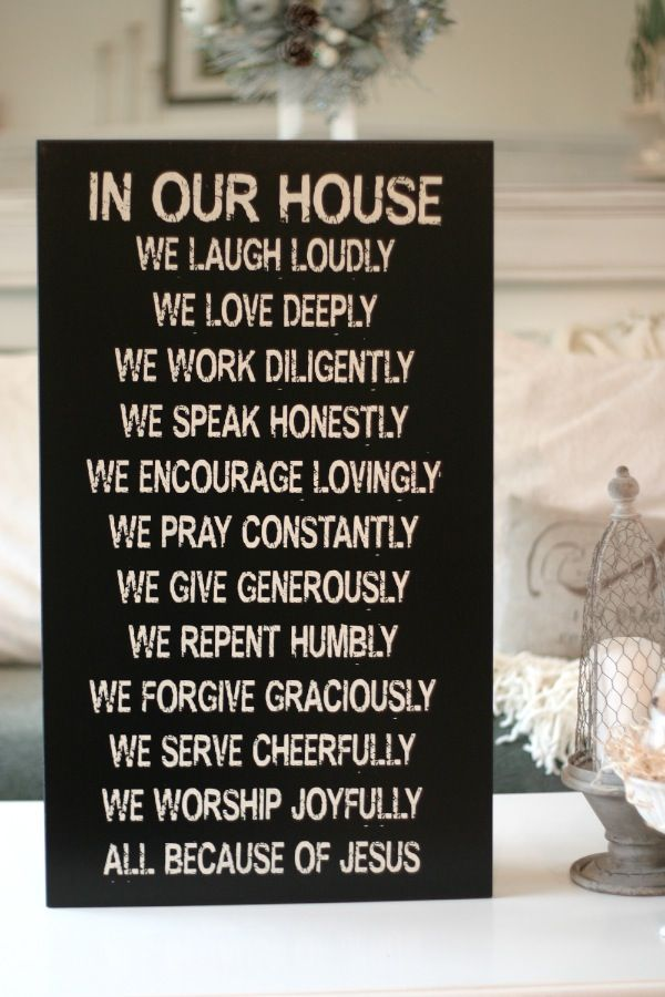 "18x30 ""In our house...."" Christian Family Values sign — Chick Lingo"