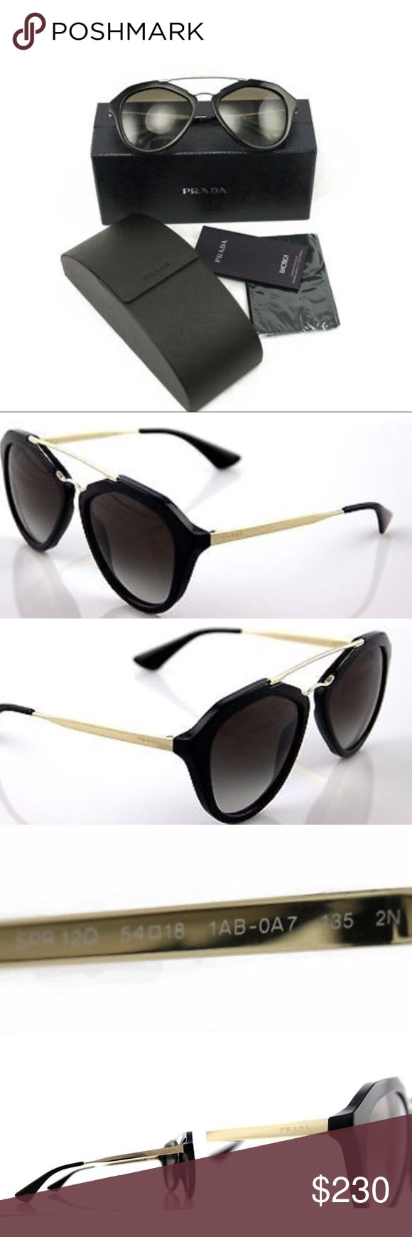 NWT AUTHENTIC Prada Sunglasses SPR12Q 100% AUTHENTIC / Genuine & Brand NEW PRADA Sun Glasses Shades Sunnies   Shape: Cat Eye Gender: Woman, Women's, Female Color: Black / Gold Eye/Bridge/Arm: 54/18/135 Lens Color: Gray Gradient  Frame Material: Acetate  Protect your eyes with these stylish Sunglasses by Prada. These are the Hottest Prada ladies sunglasses from the Cinema Collection. Very Popular and Hot item.  Comes with all Retail Original Packaging including Prada Case, Lens Cloth & Papers…