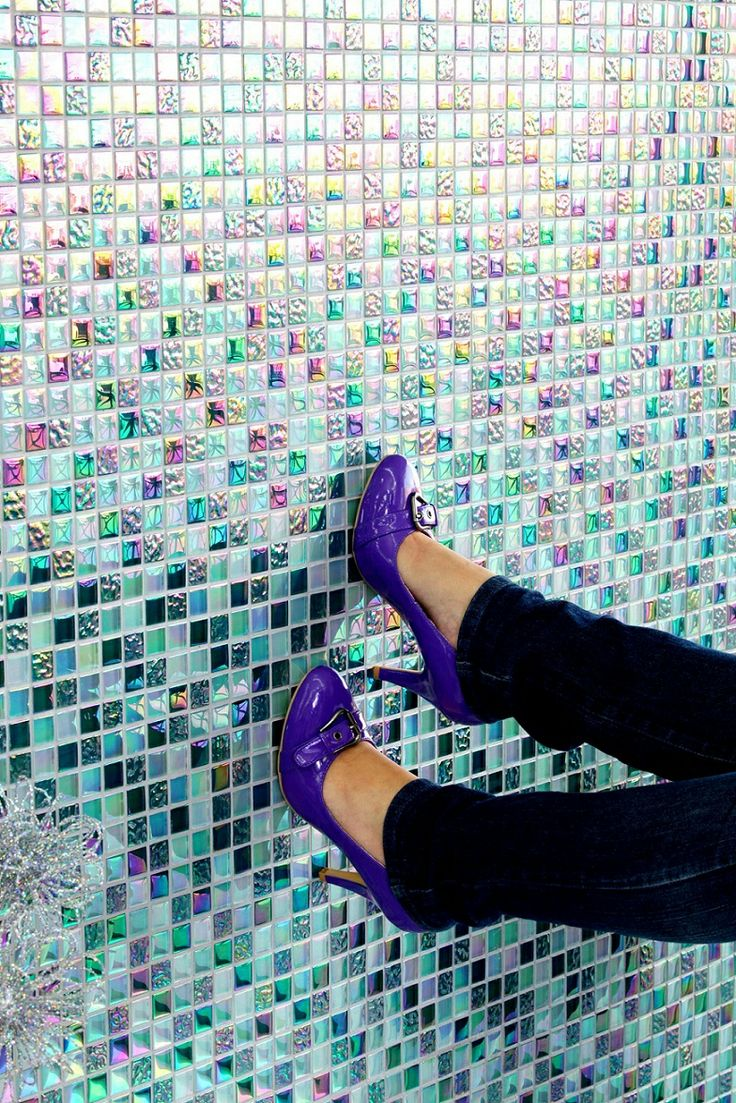 Incorporate #purple with a mosaic accent wall – it's bold and daring