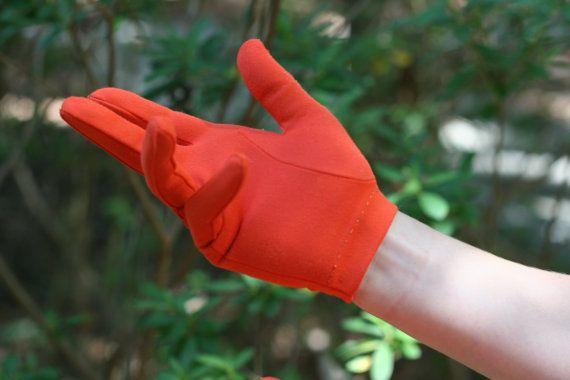 Stylish Vintage Orange Gloves / Leather-Spun Orange Gloves  / Orange Leather-Spun Nylon Gloves by theretrobeehive on Etsy