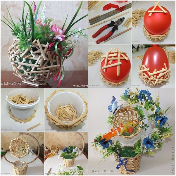 How to DIY Beautiful Flower Topiary Basket from Wood Sticks | www.FabArtDIY.com LIKE Us on Facebook ==> https://www.facebook.com/FabArtDIY