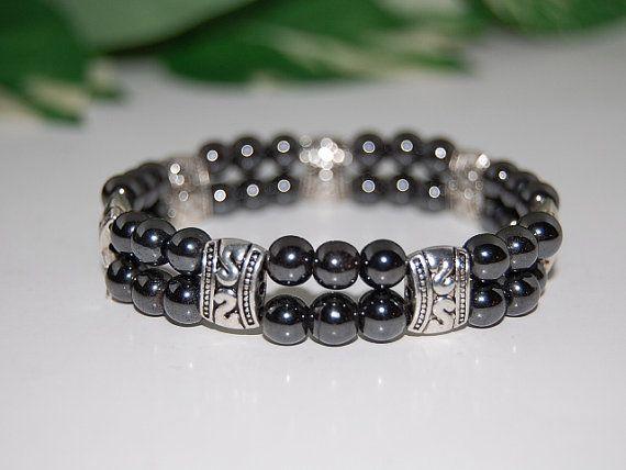 Magnetic Hematite Beads Bracelet,Double strand bracelet,Man,Woman,health ,Healing, Relieve ,Protection, Meditation, Yoga, Boho ,Stretch fits