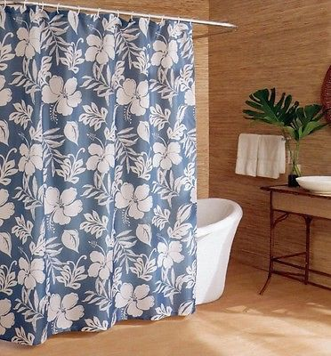 13 Piece Caribbean Joe Key West Blue Floral Tropical Fabric Shower Curtain Set Give your bathroom a tropical look with this upscale Caribbean Joe Key