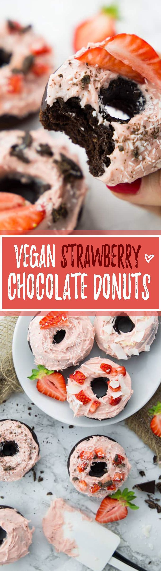 These vegan chocolate donuts are one of my favorites! They're super chocolatey with a creamy strawberry frosting topped with coconut flakes. Vegan donuts at their best - one of my favorite vegan desserts!