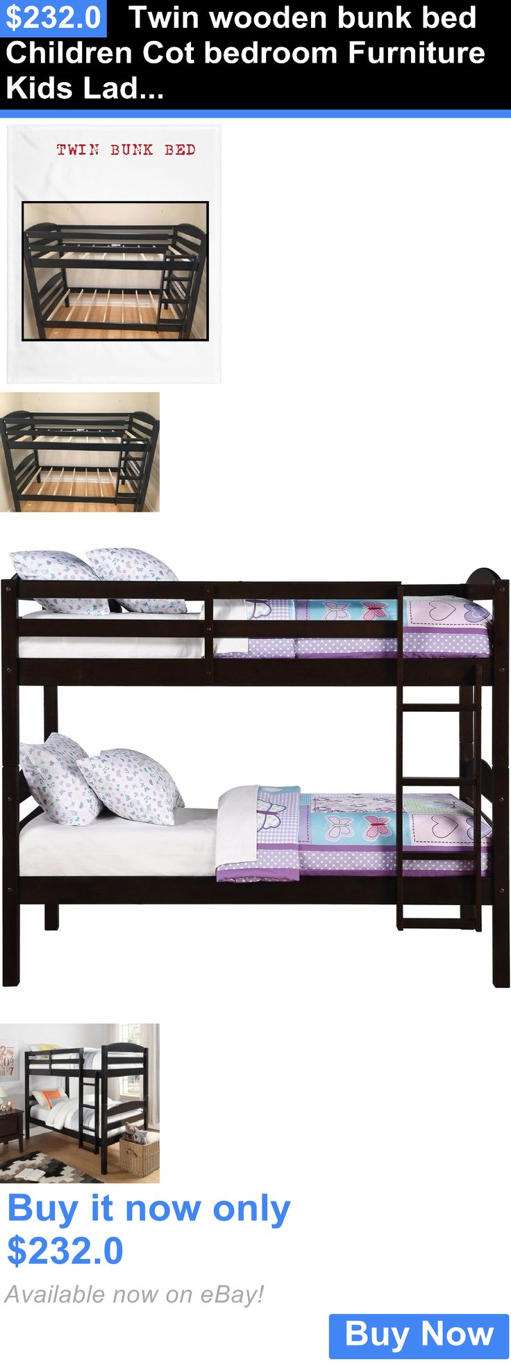 Kids Furniture: Twin Wooden Bunk Bed Children Cot Bedroom Furniture Kids Ladder Beds Furniture BUY IT NOW ONLY: $232.0