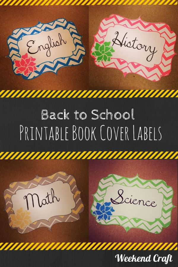 School Book Cover Images : Back to school printable subject labels and