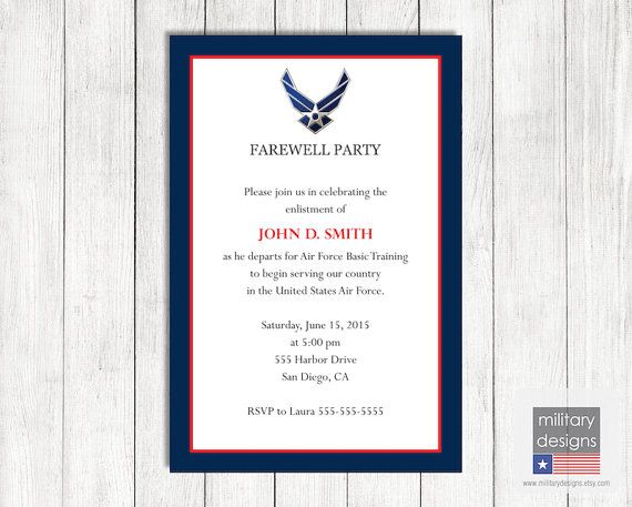 Air Force Farewell Invitation U.S. Air Force by MilitaryDesigns