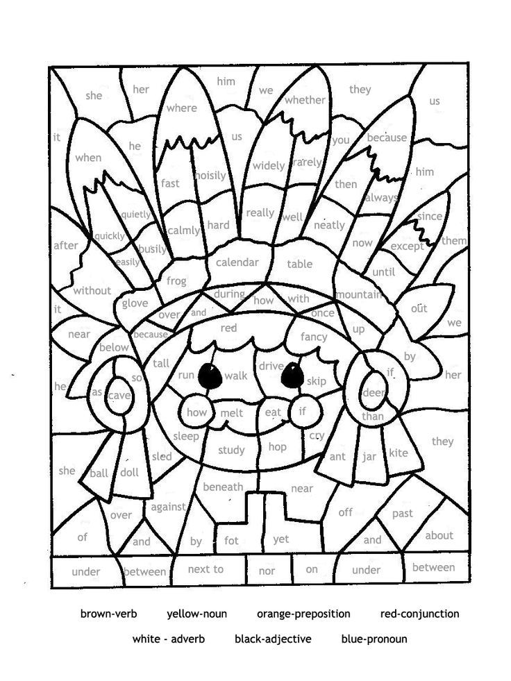 Educational coloring pages for parts of speech Paint by ...