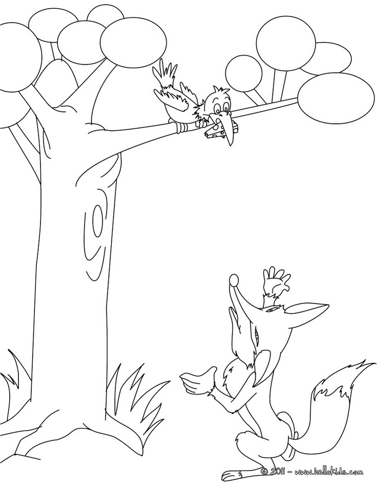 THE RAVEN AND THE FOX coloring page