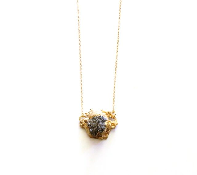 Pyrite Chunk Necklace: Plated Sterling Chain, Pyrite, Mesh, Paint