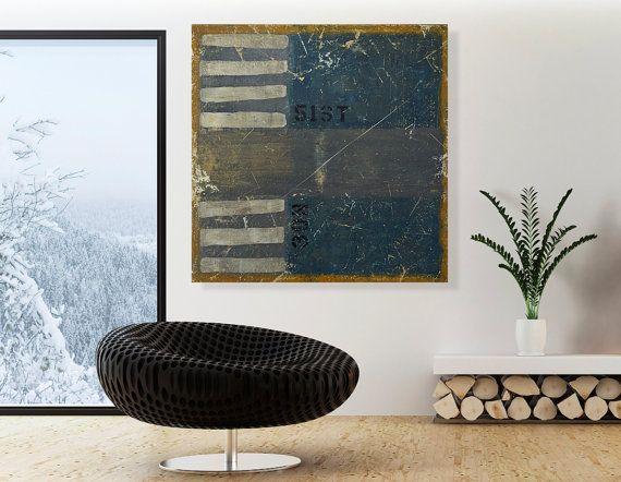 Large Original Acrylic Wall Art 32x32 Distressed Blue Home Decor