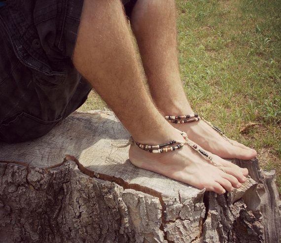 Barefoot Sandals Men – handmade shoes sandals – wedding ceremony – beach sandals – hemp sandals – toe thong – beaded sandals – hippie shoes