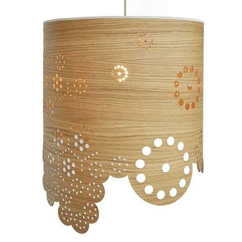 Kajo flower drum lampshade, smoked oak, natural