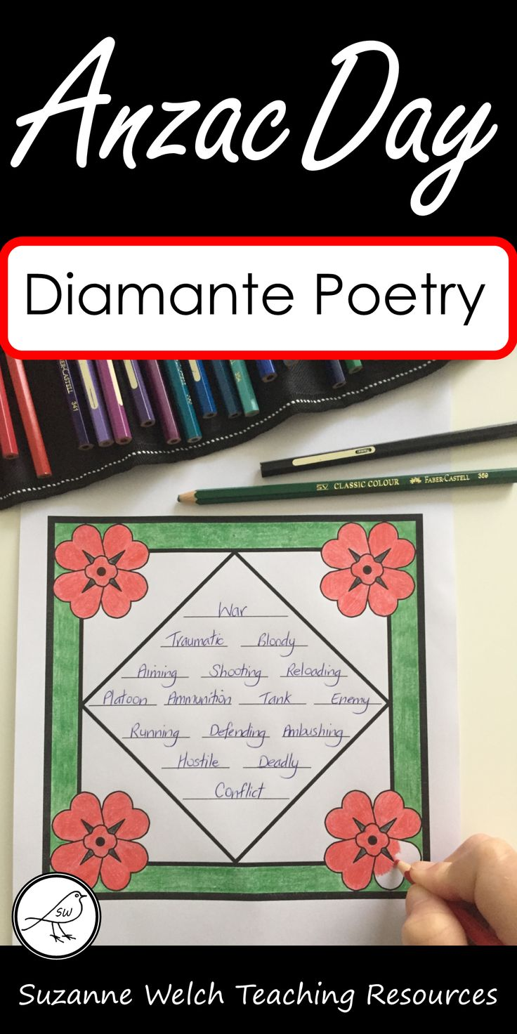 Poetry writing templates for Anzac Day or other war remembrance days.  Diamante poems include nouns, adjectives, verbs, synonyms.  Various templates to choose from.  #anzacday #anzacclassroom #warremembrance #poetrywriting #newzealandclassroom
