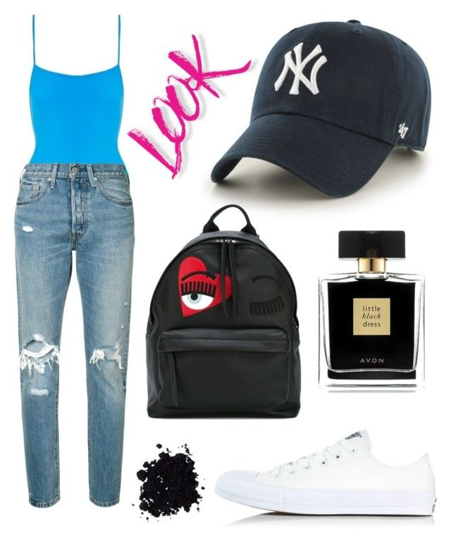 """Senza titolo #483"" by kirsten-weigh on Polyvore featuring moda, Solid & Striped, Levi's, '47 Brand, Converse, Chiara Ferragni, NYX e Avon"