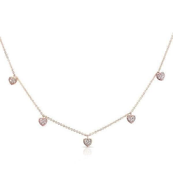 14KT Rose Gold Diamond Hearts Necklace