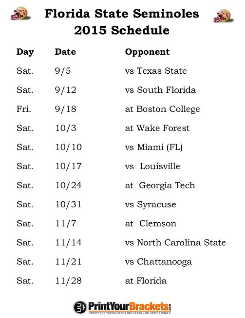 Printable Florida State Seminoles Football Schedule 2015