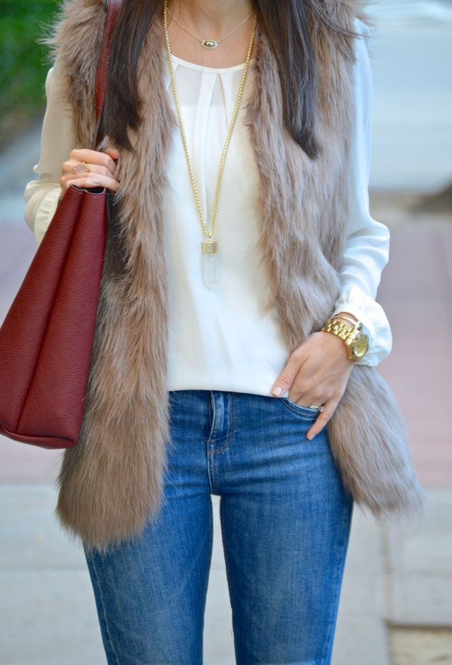 cream top, fur vest, crystal pendant