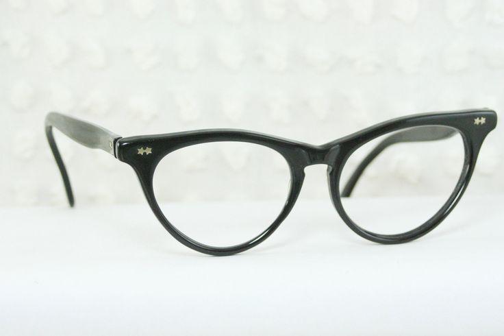 50s Cat Eye Glasses 1960s Black Horn Rim Eyeglasses ...