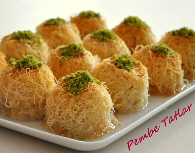 shredded dough baked in syrup topped with crushed nuts ( Turkish Tel Kadayıf)