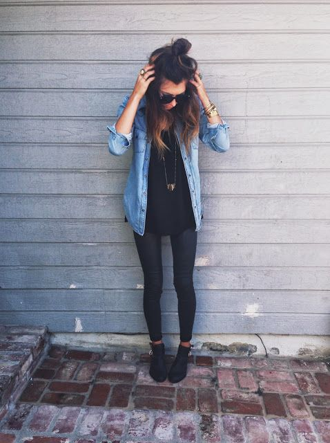 thinspo skinny legs thigh gap. chambray button-down + tee + long necklace + coated denim + ankle boots