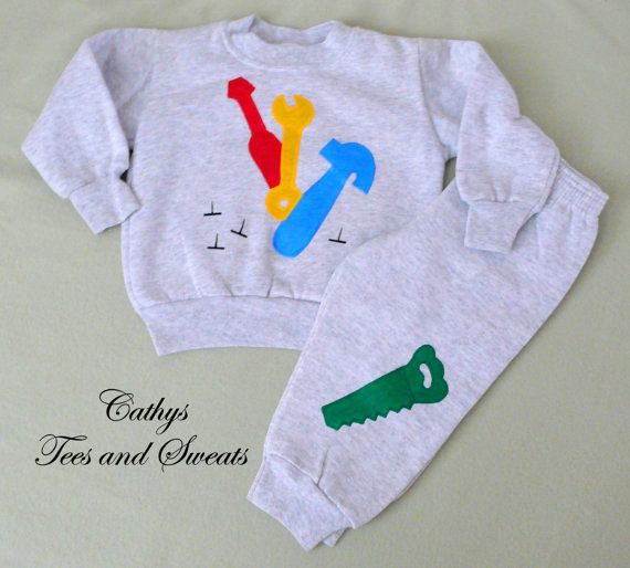 Tool Sweat Set Tools Shirt Handpainted by CathysTeesandSweats, $30.00 #kidsclothes #etsyfinds #tools #kidsfashions #babyclothes #babyshowergift #boysbirthdaygift #giftidead