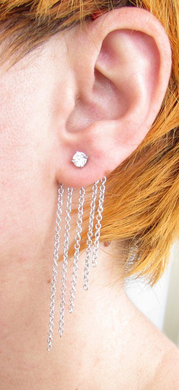 Gold Ear Jackets Sparkly Diamond CZ  Chain Ear by iPreciousgr