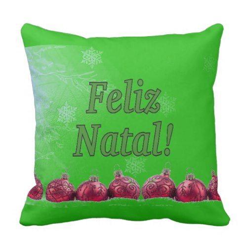 Feliz Natal! Merry Christmas in Portuguese gf Throw Pillow