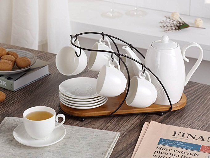 AmazonSmile   Ceramic Tea Cup Set, including 6 pcs Tea Cup and Saucer with 1 teapot Bamboo Rack, for Home and Office Coffee Teaparty by Pukka Home (Service for 6 (5 oz)): Cup & Saucer Sets