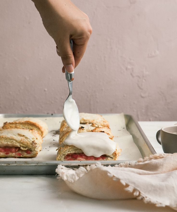 Roasted Rhubarb Scone Sandwiches with Vanilla Bean Glaze
